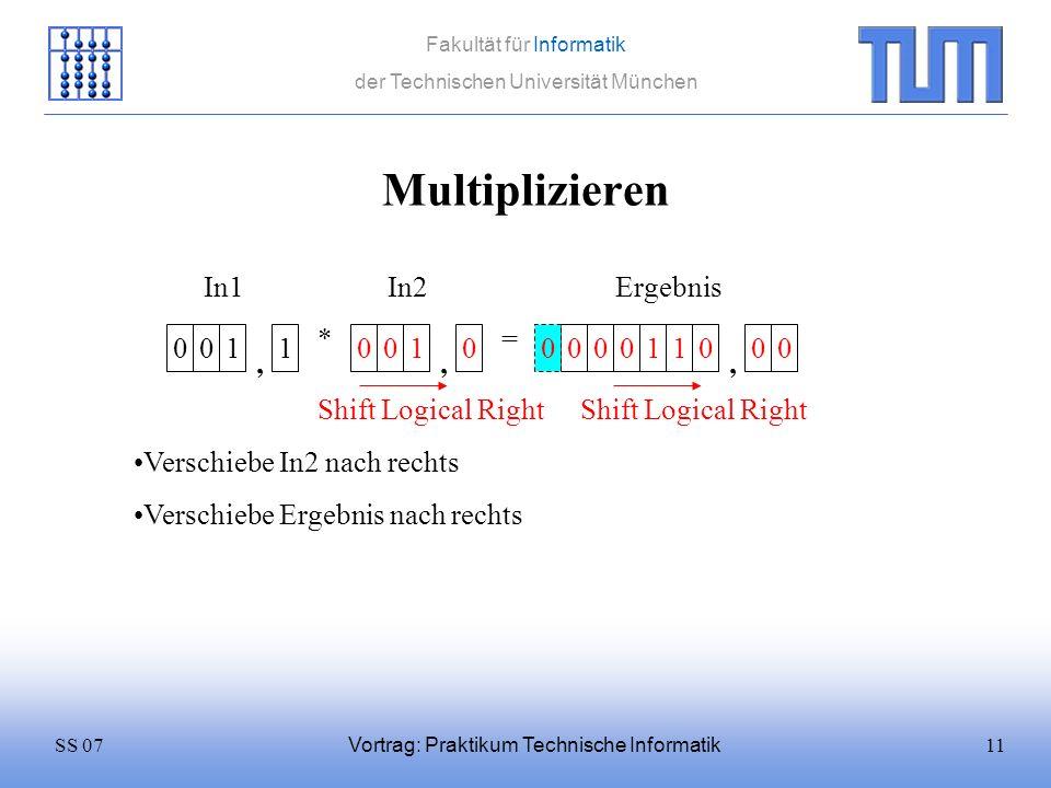 11SS 07 Fakultät für Informatik der Technischen Universität München Vortrag: Praktikum Technische Informatik Multiplizieren 0011 * 0010 = In1In2 Versc