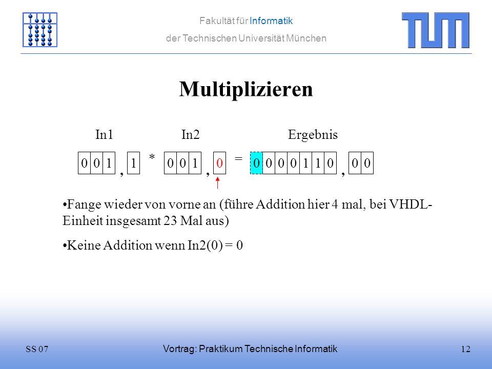 12SS 07 Fakultät für Informatik der Technischen Universität München Vortrag: Praktikum Technische Informatik Multiplizieren 0011 * 0010 = In1In2 Fange