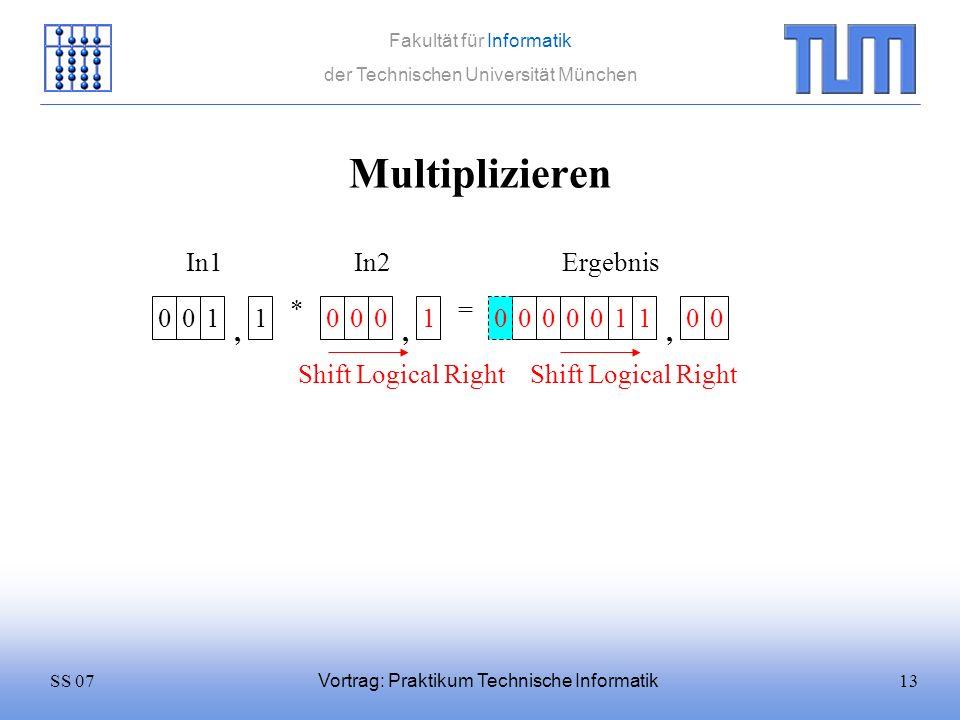 13SS 07 Fakultät für Informatik der Technischen Universität München Vortrag: Praktikum Technische Informatik Multiplizieren 0011 * 0001 = In1In2 0000