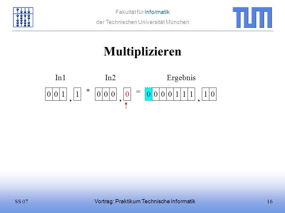 16SS 07 Fakultät für Informatik der Technischen Universität München Vortrag: Praktikum Technische Informatik Multiplizieren 0011 * 0000 = In1In2 0001