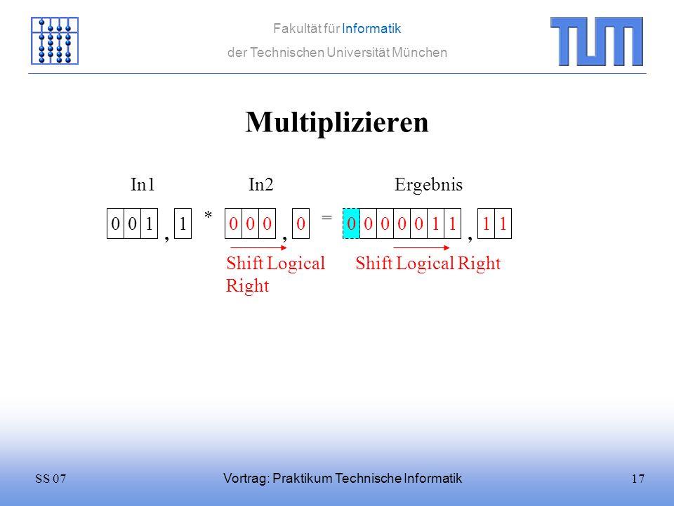 17SS 07 Fakultät für Informatik der Technischen Universität München Vortrag: Praktikum Technische Informatik Multiplizieren 0011 * 0000 = In1In2 0000