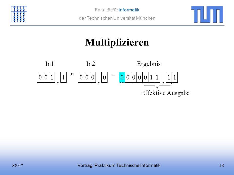 18SS 07 Fakultät für Informatik der Technischen Universität München Vortrag: Praktikum Technische Informatik Multiplizieren 0011 * 0000 = In1In2 0000