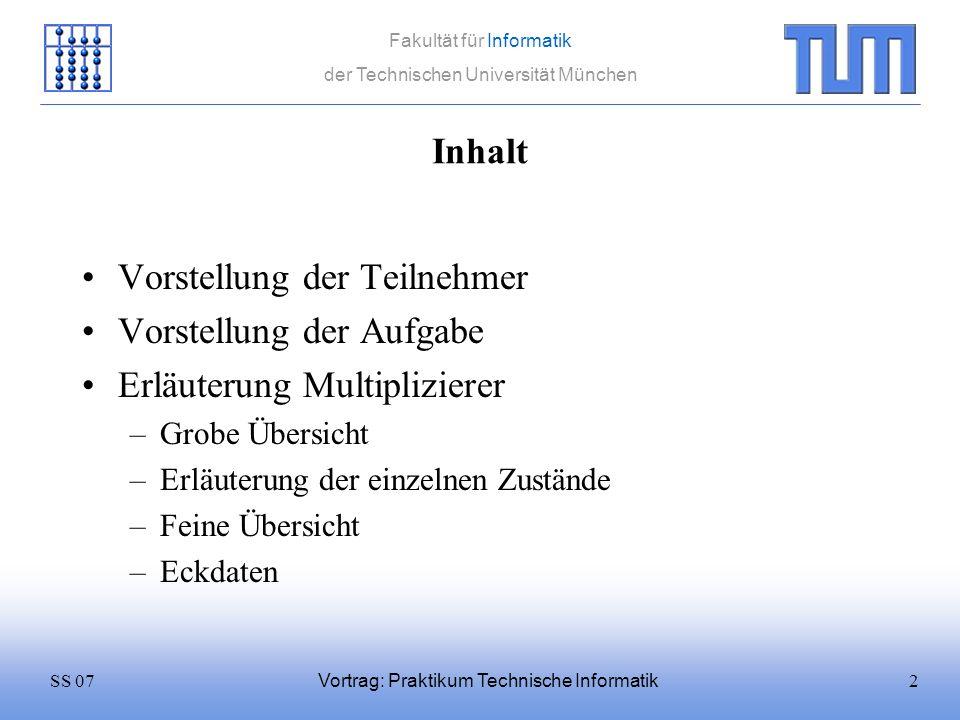 13SS 07 Fakultät für Informatik der Technischen Universität München Vortrag: Praktikum Technische Informatik Multiplizieren 0011 * 0001 = In1In2 0000 Ergebnis 1100 Shift Logical Right 0,,,
