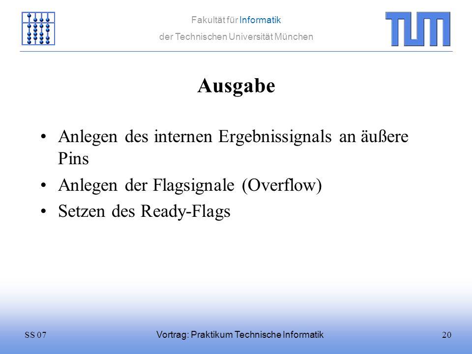 20SS 07 Fakultät für Informatik der Technischen Universität München Vortrag: Praktikum Technische Informatik Ausgabe Anlegen des internen Ergebnissign