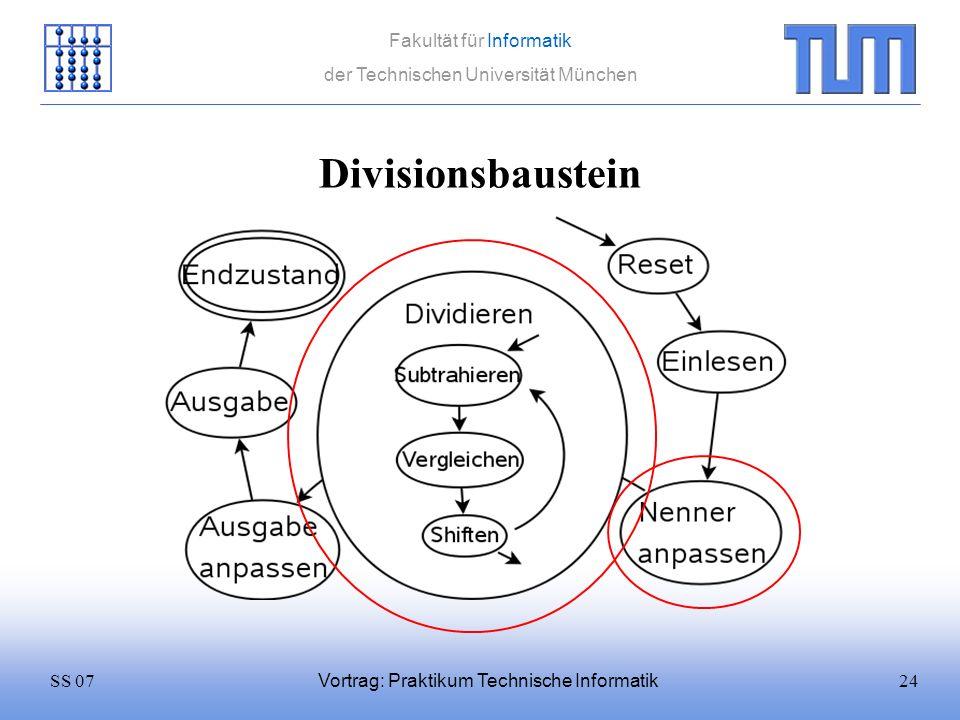 24SS 07 Fakultät für Informatik der Technischen Universität München Vortrag: Praktikum Technische Informatik Divisionsbaustein