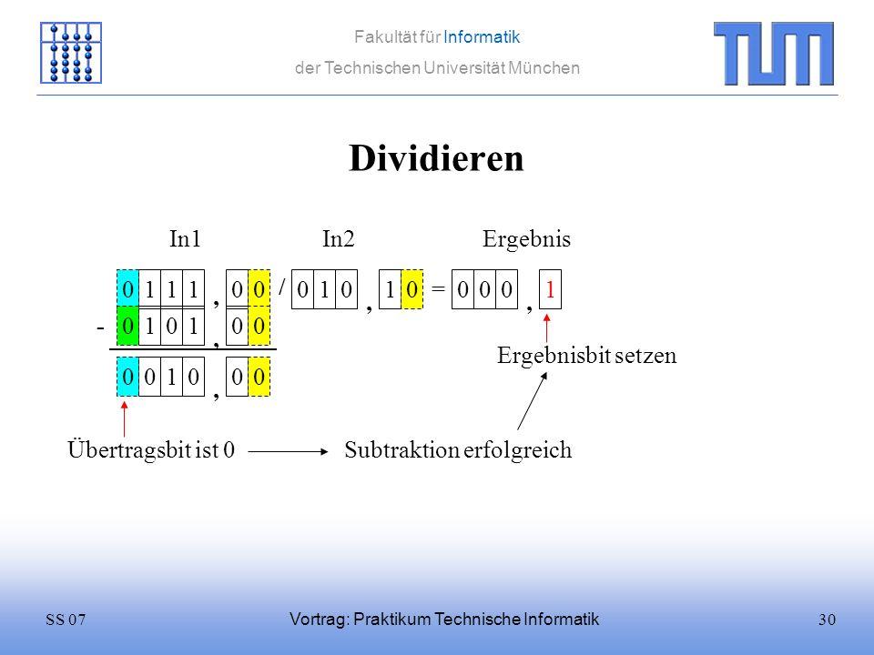 30SS 07 Fakultät für Informatik der Technischen Universität München Vortrag: Praktikum Technische Informatik Dividieren 1110 / 0101 = In1In2 0 Ergebni