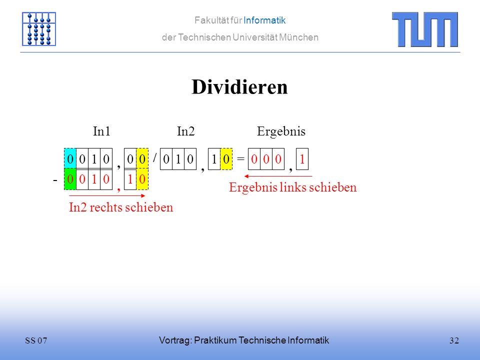 32SS 07 Fakultät für Informatik der Technischen Universität München Vortrag: Praktikum Technische Informatik Dividieren 0100 / 0101 = In1In2 0 Ergebni