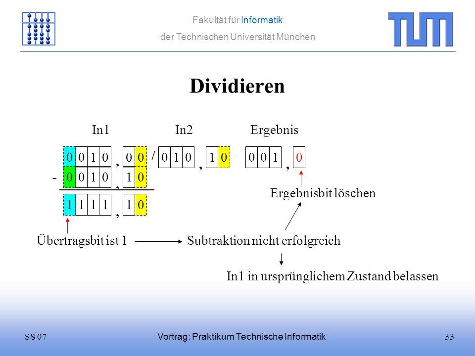33SS 07 Fakultät für Informatik der Technischen Universität München Vortrag: Praktikum Technische Informatik Dividieren 0100 / 0101 = In1In2 0 Ergebni