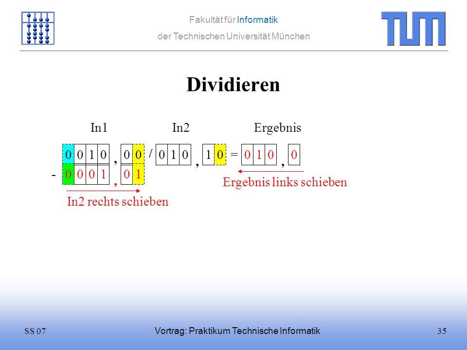 35SS 07 Fakultät für Informatik der Technischen Universität München Vortrag: Praktikum Technische Informatik Dividieren 0100 / 0101 = In1In2 0 Ergebni