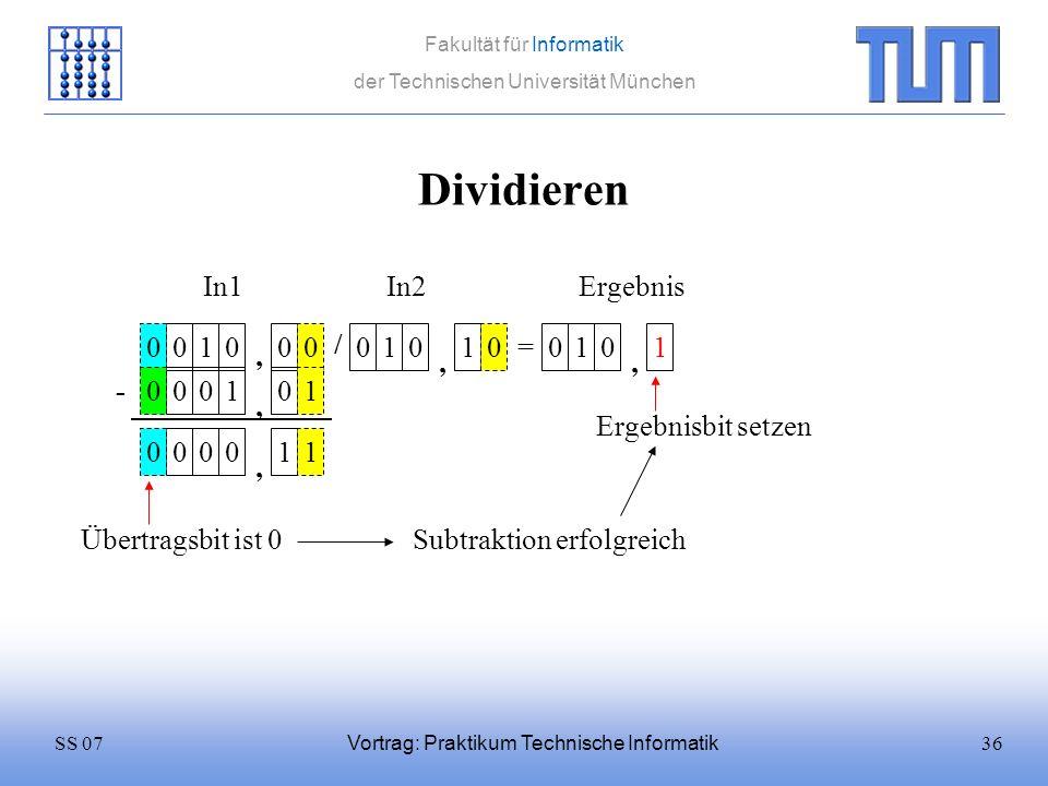36SS 07 Fakultät für Informatik der Technischen Universität München Vortrag: Praktikum Technische Informatik Dividieren 0100 / 0101 = In1In2 0 Ergebni