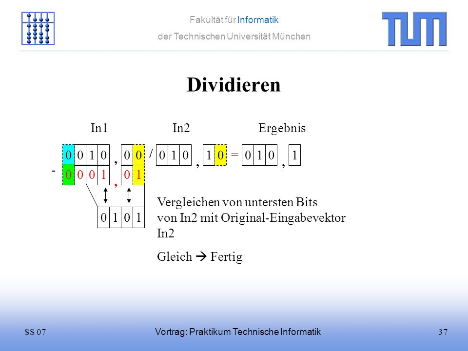37SS 07 Fakultät für Informatik der Technischen Universität München Vortrag: Praktikum Technische Informatik Dividieren 0100 / 0101 = In1In2 0 Ergebni
