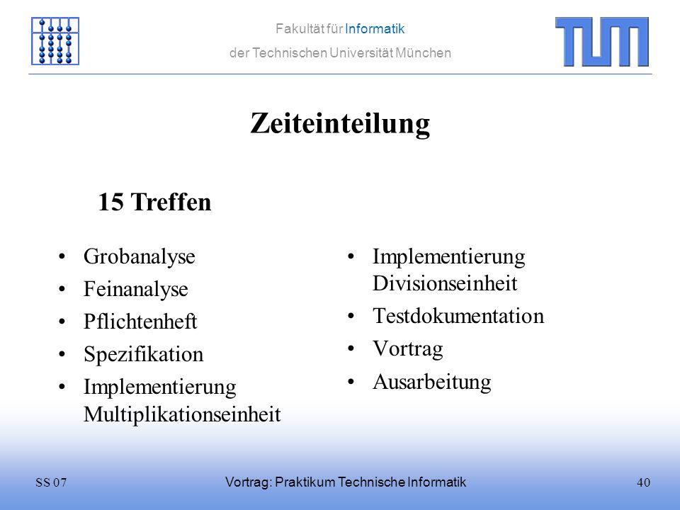 40SS 07 Fakultät für Informatik der Technischen Universität München Vortrag: Praktikum Technische Informatik Zeiteinteilung Grobanalyse Feinanalyse Pf