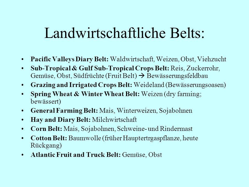 Landwirtschaftliche Belts: Pacific Valleys Diary Belt: Waldwirtschaft, Weizen, Obst, Viehzucht Sub-Tropical & Gulf Sub-Tropical Crops Belt: Reis, Zuck