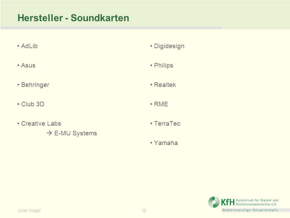 Julian Weger 12 Hersteller - Soundkarten AdLib Asus Behringer Club 3D Creative Labs E-MU Systems Digidesign Philips Realtek RME TerraTec Yamaha