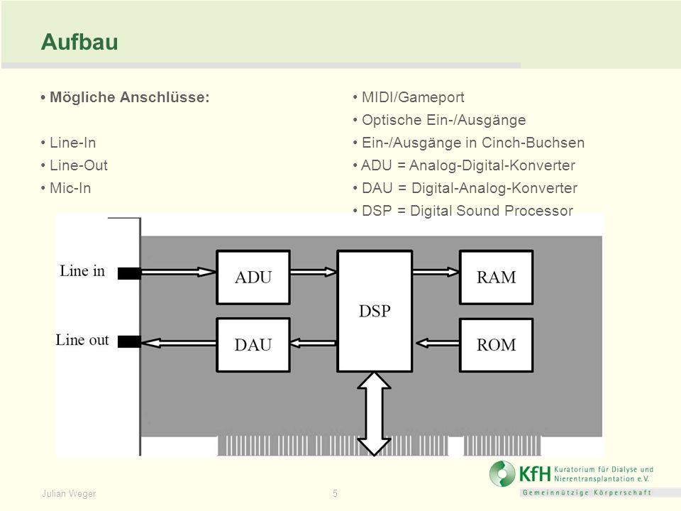 Julian Weger 5 Aufbau Mögliche Anschlüsse: Line-In Line-Out Mic-In MIDI/Gameport Optische Ein-/Ausgänge Ein-/Ausgänge in Cinch-Buchsen ADU = Analog-Di