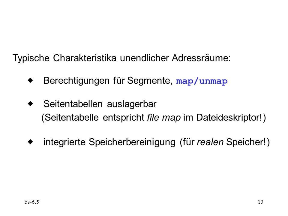 bs-6.513 Typische Charakteristika unendlicher Adressräume: Berechtigungen für Segmente, map/unmap Seitentabellen auslagerbar (Seitentabelle entspricht