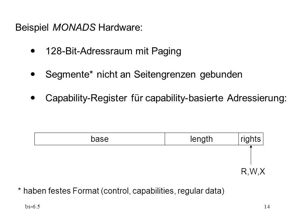 bs-6.514 Beispiel MONADS Hardware: 128-Bit-Adressraum mit Paging Segmente* nicht an Seitengrenzen gebunden Capability-Register für capability-basierte