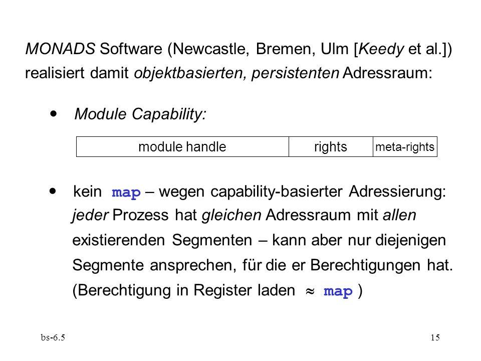bs-6.515 MONADS Software (Newcastle, Bremen, Ulm [Keedy et al.]) realisiert damit objektbasierten, persistenten Adressraum: Module Capability: module