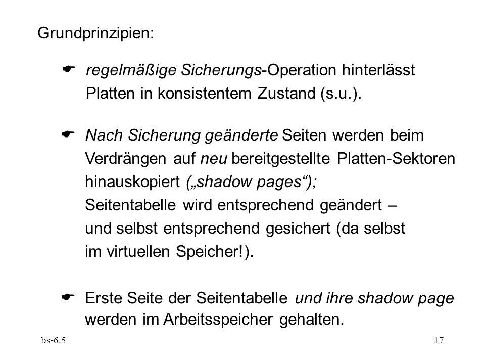 bs-6.517 Grundprinzipien: regelmäßige Sicherungs-Operation hinterlässt Platten in konsistentem Zustand (s.u.). Nach Sicherung geänderte Seiten werden