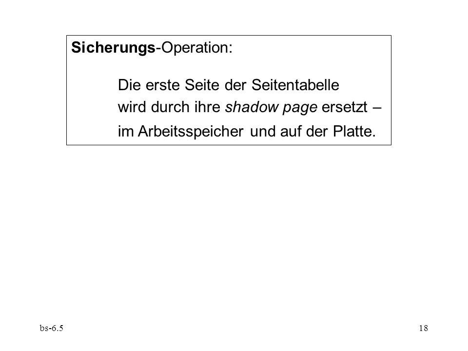 bs-6.518 Sicherungs-Operation: Die erste Seite der Seitentabelle wird durch ihre shadow page ersetzt – im Arbeitsspeicher und auf der Platte.
