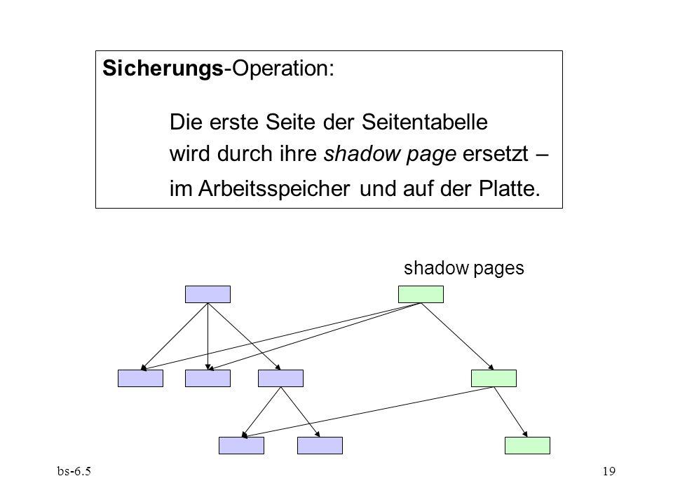 bs-6.519 Sicherungs-Operation: Die erste Seite der Seitentabelle wird durch ihre shadow page ersetzt – im Arbeitsspeicher und auf der Platte. shadow p