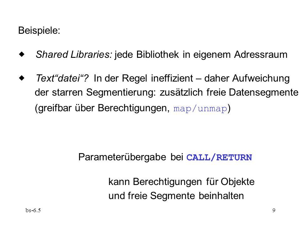 bs-6.59 Beispiele: Shared Libraries: jede Bibliothek in eigenem Adressraum Textdatei? In der Regel ineffizient – daher Aufweichung der starren Segment