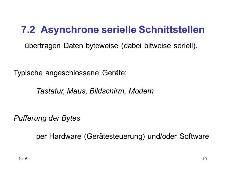 bs-610 7.2 Asynchrone serielle Schnittstellen übertragen Daten byteweise (dabei bitweise seriell).