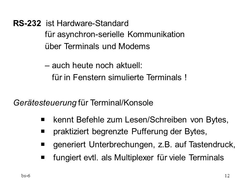 bs-612 RS-232 ist Hardware-Standard für asynchron-serielle Kommunikation über Terminals und Modems – auch heute noch aktuell: für in Fenstern simulierte Terminals .