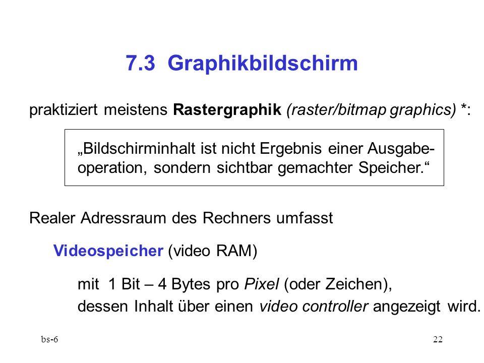 bs-622 7.3 Graphikbildschirm praktiziert meistens Rastergraphik (raster/bitmap graphics) *: Bildschirminhalt ist nicht Ergebnis einer Ausgabe- operation, sondern sichtbar gemachter Speicher.