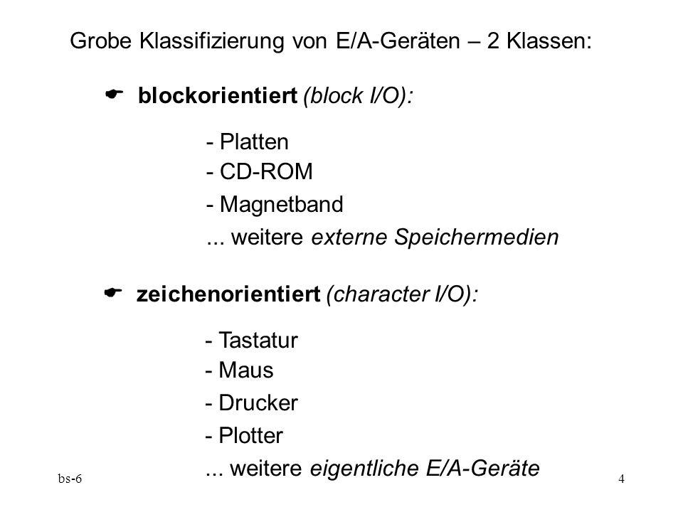 bs-64 Grobe Klassifizierung von E/A-Geräten – 2 Klassen: blockorientiert (block I/O): - Platten - CD-ROM - Magnetband...