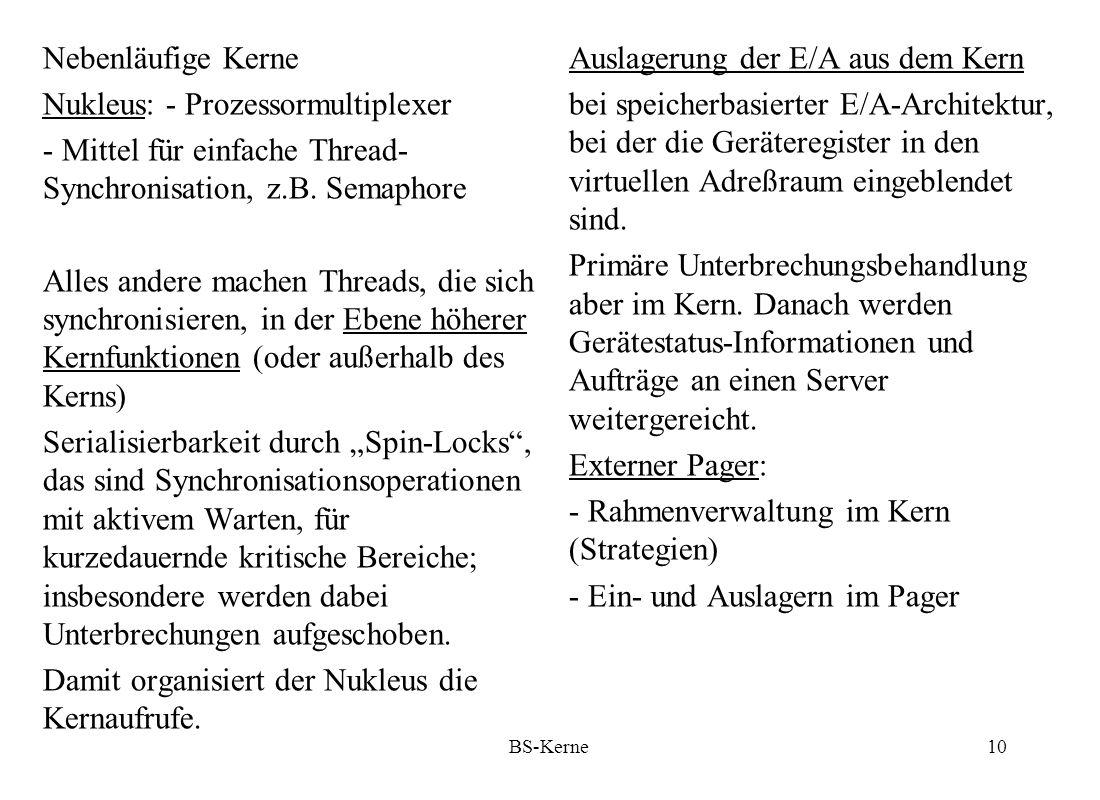 BS-Kerne11 Vorteile dieser E/A- Architektur: - Weniger Konfigurationsparameter - Geräteverwaltung einfacher, z.B.