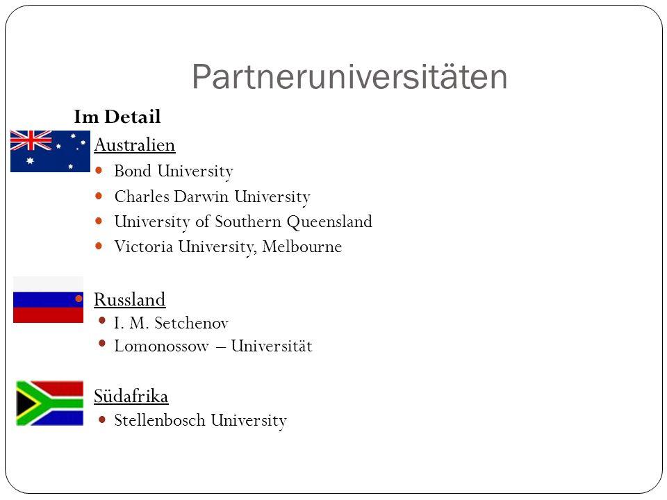 Partneruniversitäten Im Detail Australien Bond University Charles Darwin University University of Southern Queensland Victoria University, Melbourne R