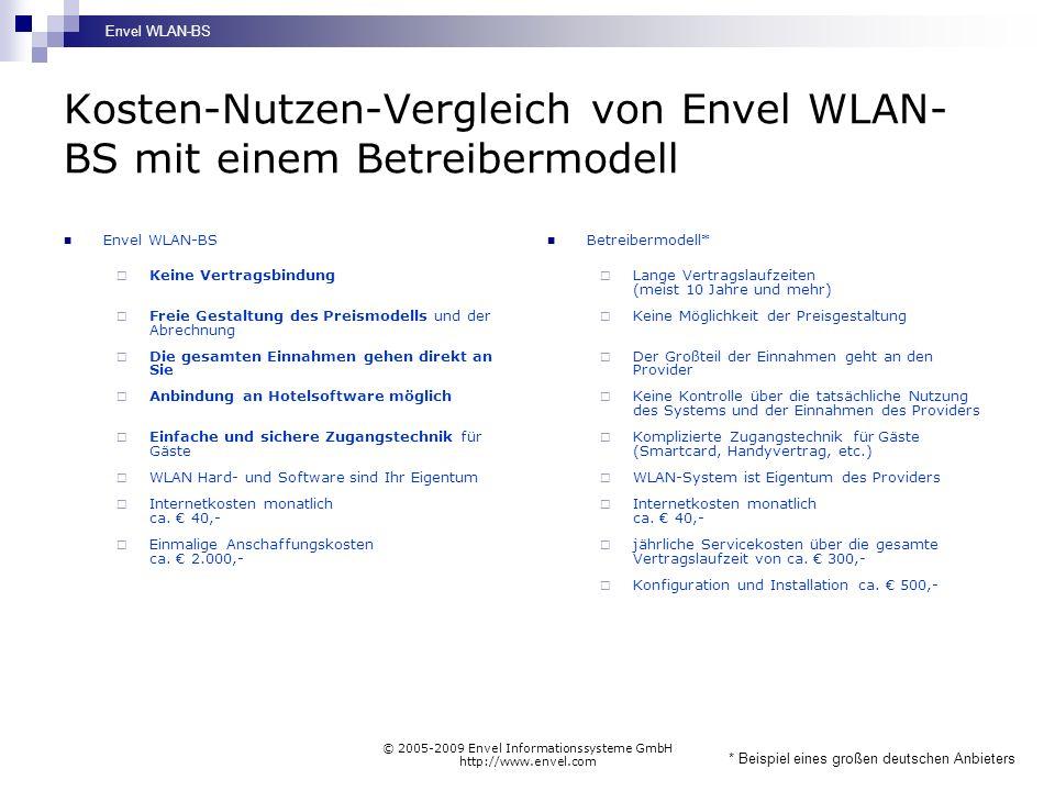 Envel WLAN-BS © 2005-2009 Envel Informationssysteme GmbH http://www.envel.com Gesamtvergleich von Envel WLAN-BS mit anderen Modellen Envel WLAN-BS Betreiber- modelle selbsterstellte WLAN-Lösungen Technischer Aufwand Anschaffungskosten Flexibilität (Technik) Flexibilität (Abrechnung) Einnahmemöglichkeiten Unabhängigkeit =gut =mittel =schlecht