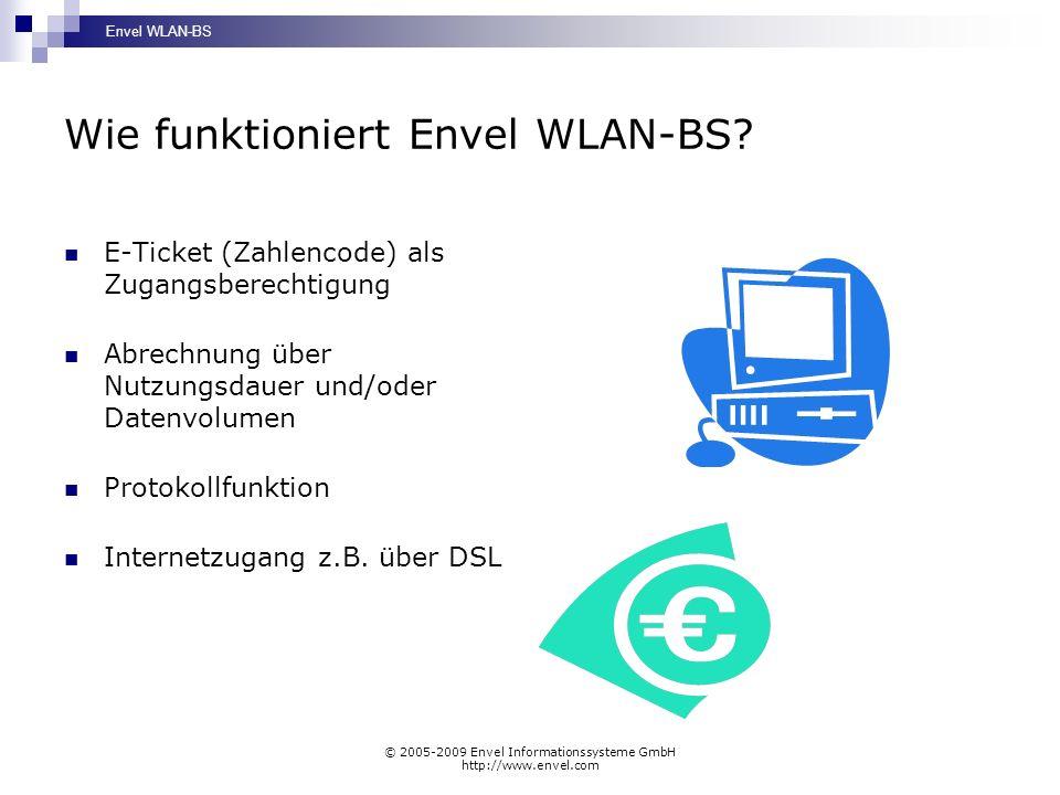 Envel WLAN-BS © 2005-2009 Envel Informationssysteme GmbH http://www.envel.com Wie funktioniert Envel WLAN-BS? E-Ticket (Zahlencode) als Zugangsberecht
