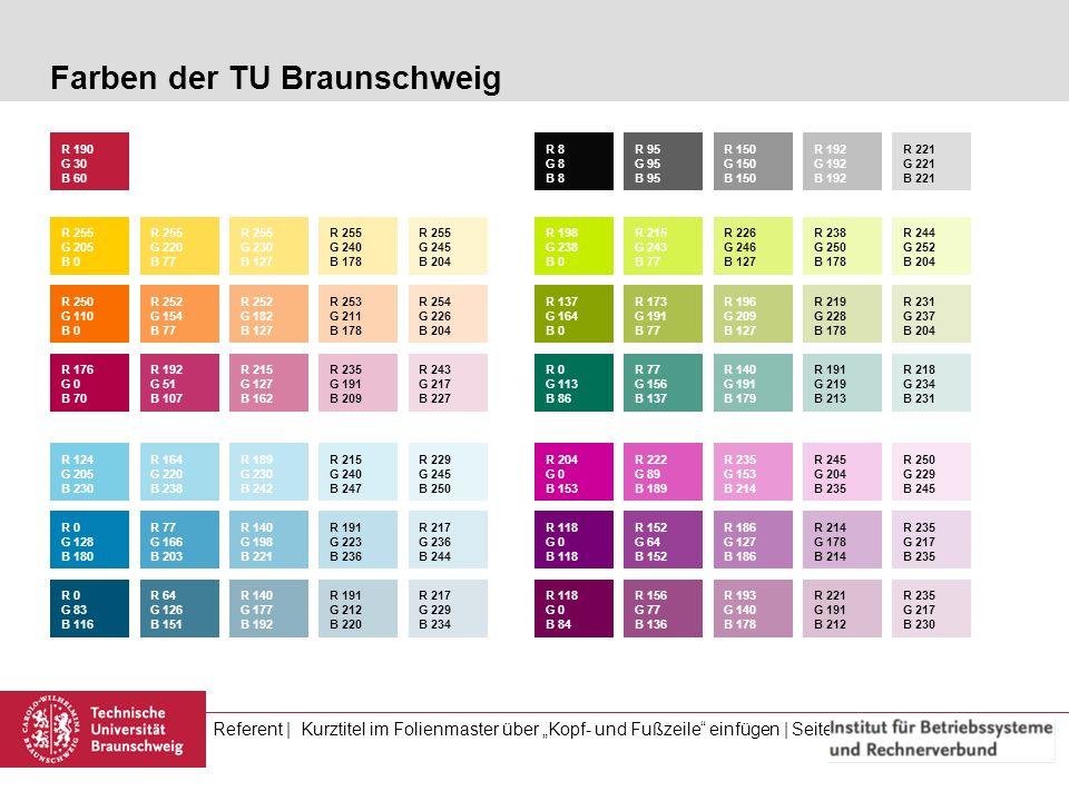 Referent | Kurztitel im Folienmaster über Kopf- und Fußzeile einfügen | Seite 11 / (Gesamtseitenzahl) Farben der TU Braunschweig R 255 G 205 B 0 R 190
