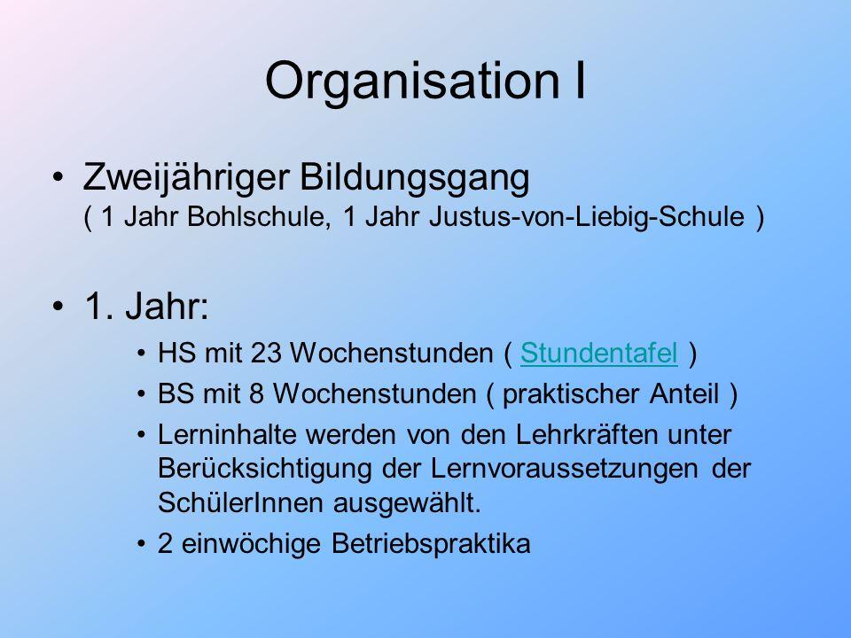 Organisation I Zweijähriger Bildungsgang ( 1 Jahr Bohlschule, 1 Jahr Justus-von-Liebig-Schule ) 1. Jahr: HS mit 23 Wochenstunden ( Stundentafel )Stund
