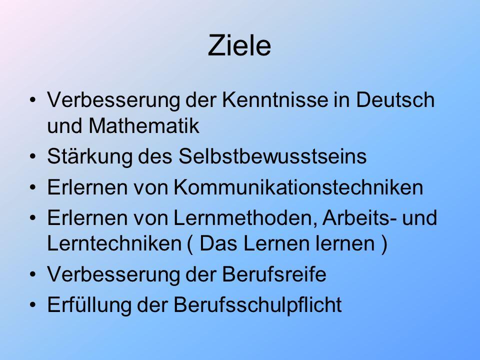Ziele Verbesserung der Kenntnisse in Deutsch und Mathematik Stärkung des Selbstbewusstseins Erlernen von Kommunikationstechniken Erlernen von Lernmeth
