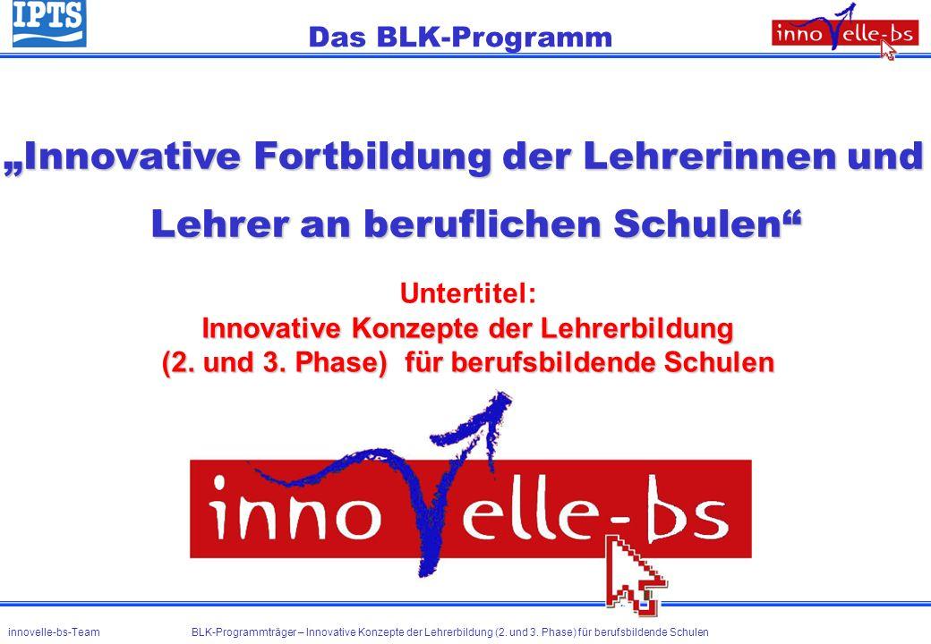 Innovative Fortbildung der Lehrerinnen und Lehrer an beruflichen Schulen Das BLK-Programm Untertitel: Innovative Konzepte der Lehrerbildung (2. und 3.