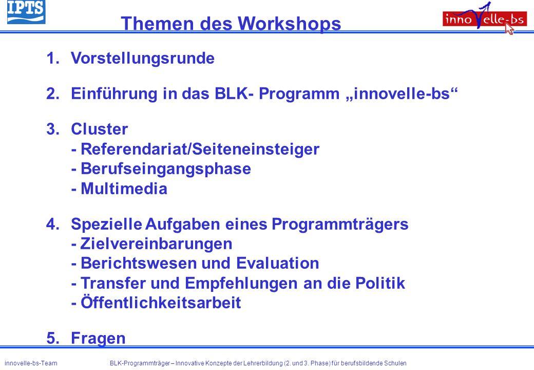 1.Vorstellungsrunde 2.Einführung in das BLK- Programm innovelle-bs 3.Cluster - Referendariat/Seiteneinsteiger - Berufseingangsphase - Multimedia 4.Spe