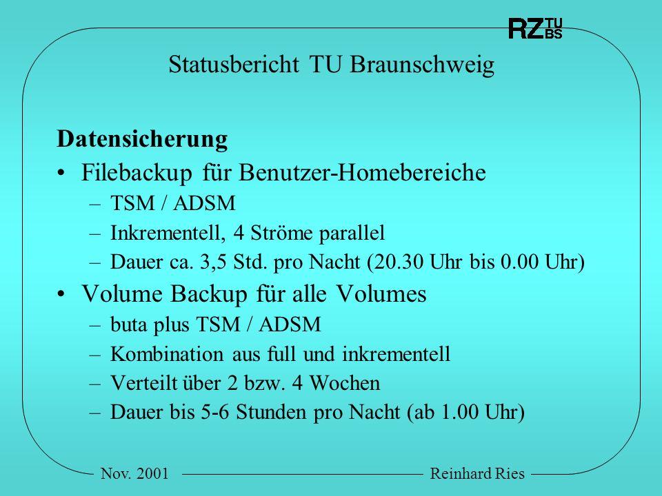 Nov. 2001Reinhard Ries Statusbericht TU Braunschweig Datensicherung Filebackup für Benutzer-Homebereiche –TSM / ADSM –Inkrementell, 4 Ströme parallel