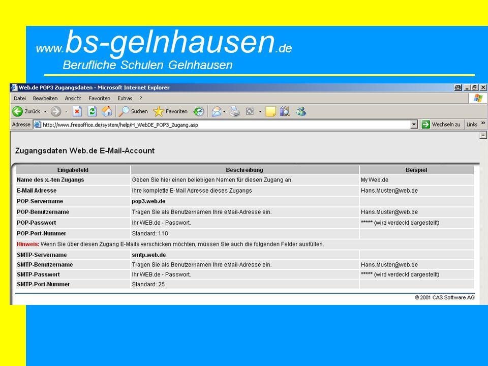 Berufliche Schulen Gelnhausen www. bs-gelnhausen.de Bsp: POP3-Web.de