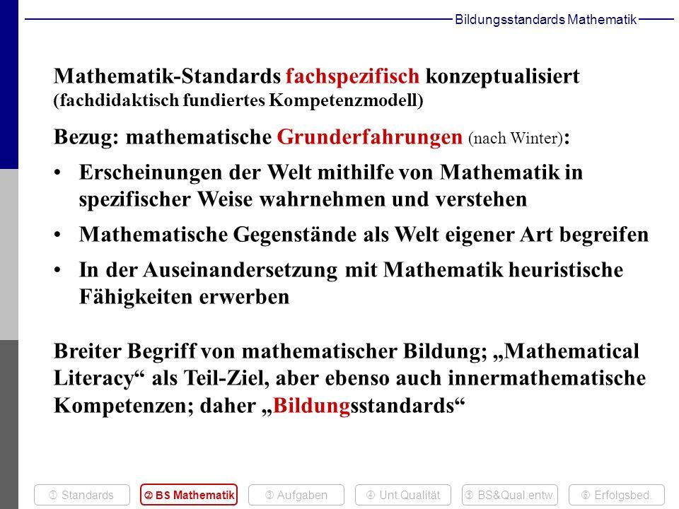 Bildungsstandards Mathematik Mathematik-Standards fachspezifisch konzeptualisiert (fachdidaktisch fundiertes Kompetenzmodell) Bezug: mathematische Grunderfahrungen (nach Winter) : Erscheinungen der Welt mithilfe von Mathematik in spezifischer Weise wahrnehmen und verstehen Mathematische Gegenstände als Welt eigener Art begreifen In der Auseinandersetzung mit Mathematik heuristische Fähigkeiten erwerben Breiter Begriff von mathematischer Bildung; Mathematical Literacy als Teil-Ziel, aber ebenso auch innermathematische Kompetenzen; daher Bildungsstandards Aufgaben Erfolgsbed.