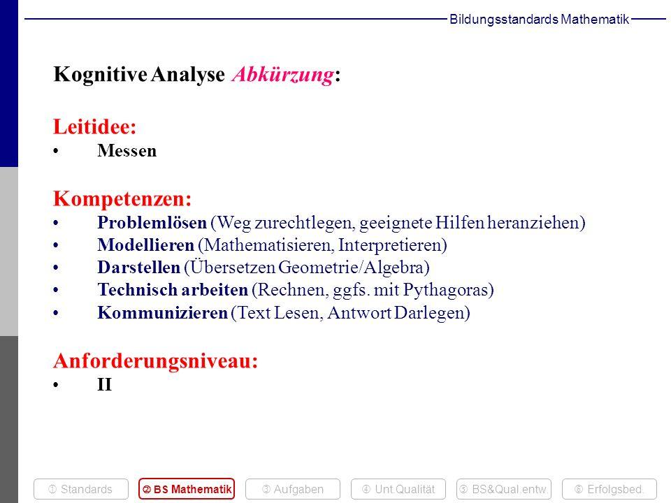 Leitidee: Messen Kompetenzen: Problemlösen (Weg zurechtlegen, geeignete Hilfen heranziehen) Modellieren (Mathematisieren, Interpretieren) Darstellen (Übersetzen Geometrie/Algebra) Technisch arbeiten (Rechnen, ggfs.