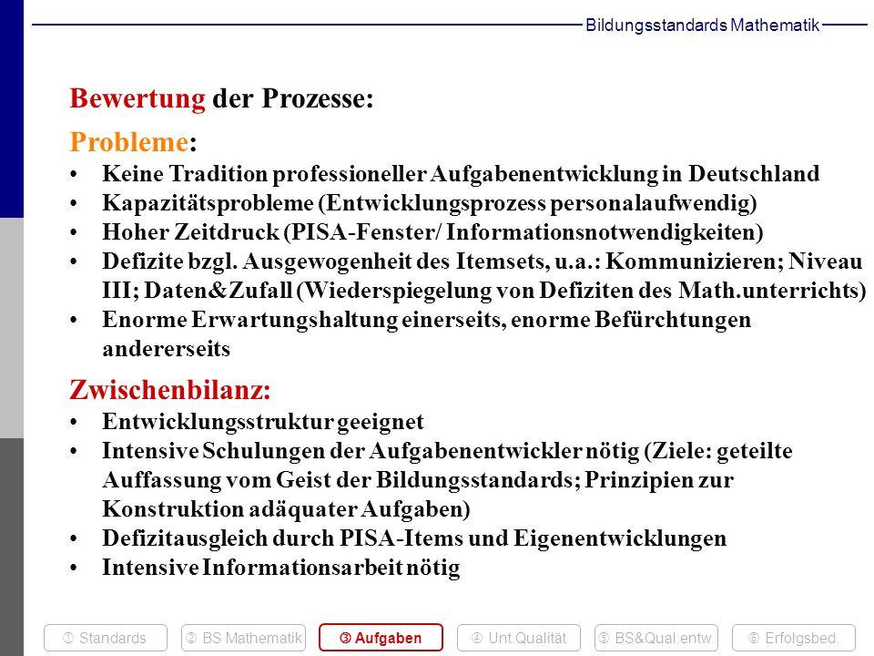 Bewertung der Prozesse: Probleme: Keine Tradition professioneller Aufgabenentwicklung in Deutschland Kapazitätsprobleme (Entwicklungsprozess personalaufwendig) Hoher Zeitdruck (PISA-Fenster/ Informationsnotwendigkeiten) Defizite bzgl.