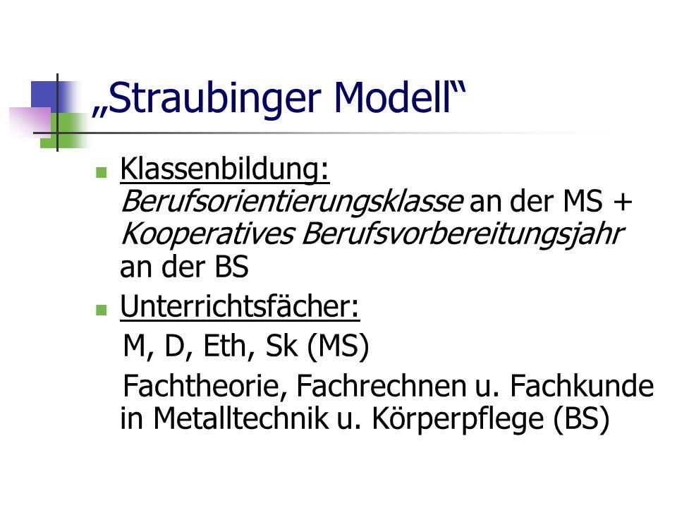 Straubinger Modell Klassenbildung: Berufsorientierungsklasse an der MS + Kooperatives Berufsvorbereitungsjahr an der BS Unterrichtsfächer: M, D, Eth, Sk (MS) Fachtheorie, Fachrechnen u.