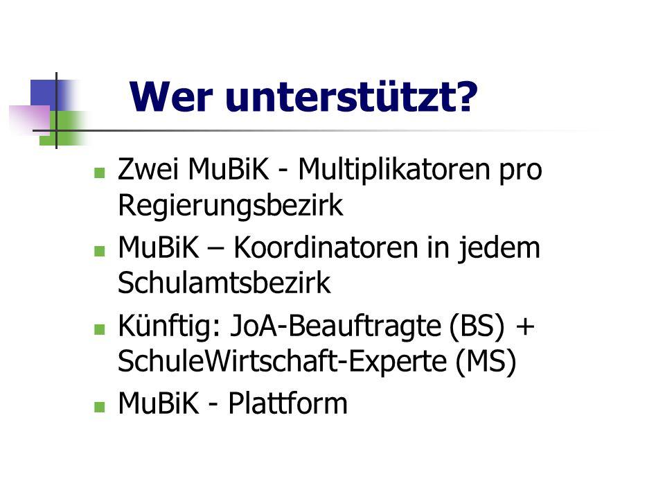 Wer unterstützt? Zwei MuBiK - Multiplikatoren pro Regierungsbezirk MuBiK – Koordinatoren in jedem Schulamtsbezirk Künftig: JoA-Beauftragte (BS) + Schu