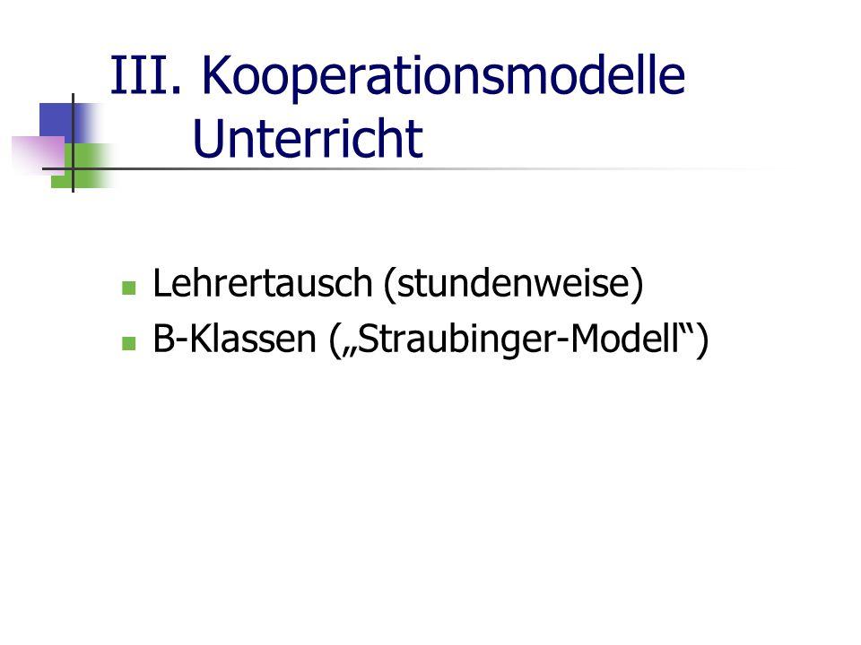 III. Kooperationsmodelle Unterricht Lehrertausch (stundenweise) B-Klassen (Straubinger-Modell)