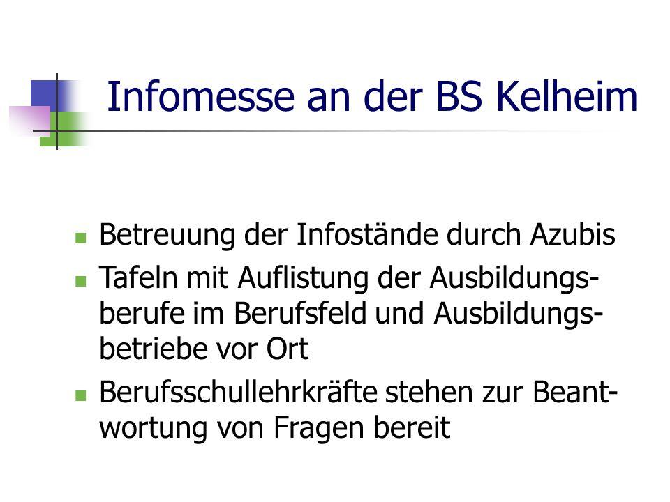 Infomesse an der BS Kelheim Betreuung der Infostände durch Azubis Tafeln mit Auflistung der Ausbildungs- berufe im Berufsfeld und Ausbildungs- betriebe vor Ort Berufsschullehrkräfte stehen zur Beant- wortung von Fragen bereit