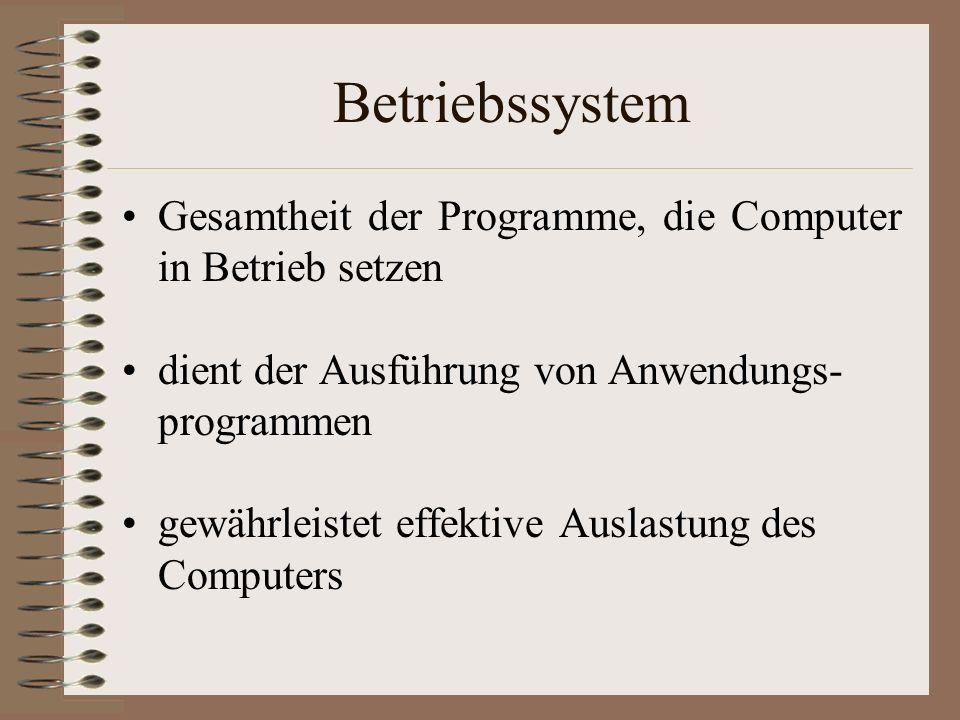Betriebssystem Gesamtheit der Programme, die Computer in Betrieb setzen dient der Ausführung von Anwendungs- programmen gewährleistet effektive Auslastung des Computers