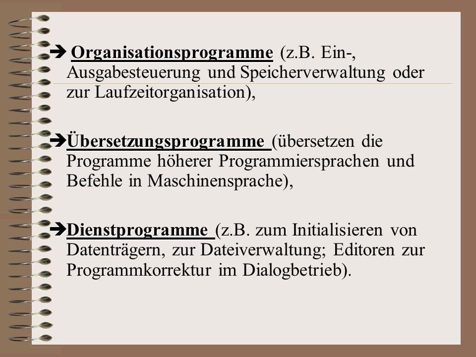 Betriebssystem Gesamtheit der Programme, die Computer in Betrieb setzen dient der Ausführung von Anwendungs- programmen gewährleistet effektive Auslas